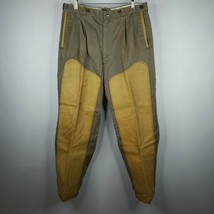 Vintage 10-X Mens Khaki Beige Yellow Leather Duck Hunting Pants 34 X 30 - $98.95
