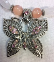 Women Neclace, Butterfly with Pink Crystals on Stones and Beads with Ext... - $6.50