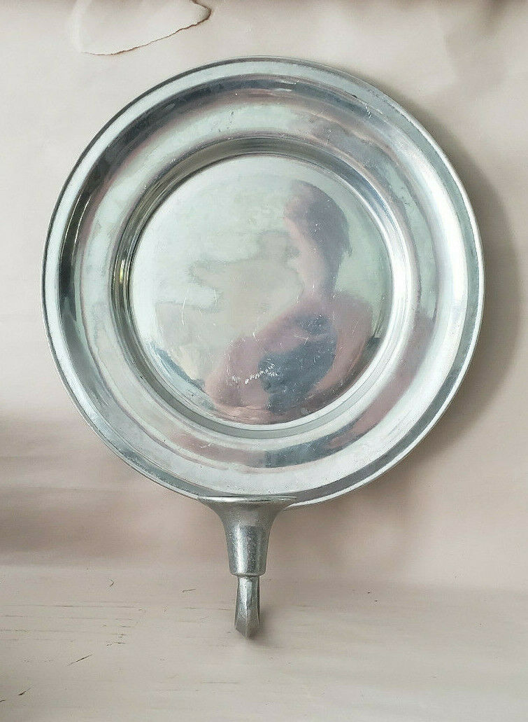 WILTON ARMETALE Pewter - FEDERAL GLOSSY Pattern- Candle Sconce WALL PLATE - $49.95