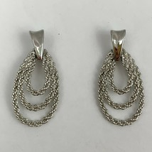 Vintage Silver Tone Door Knocker Pierced Earrings Rope Texture Dangle 90s - $11.84