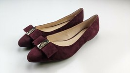 Kate Spade Norah Ballet Flats Bow Pointy Toe Suede Burgundy & Gold 9.5 M  - $39.59