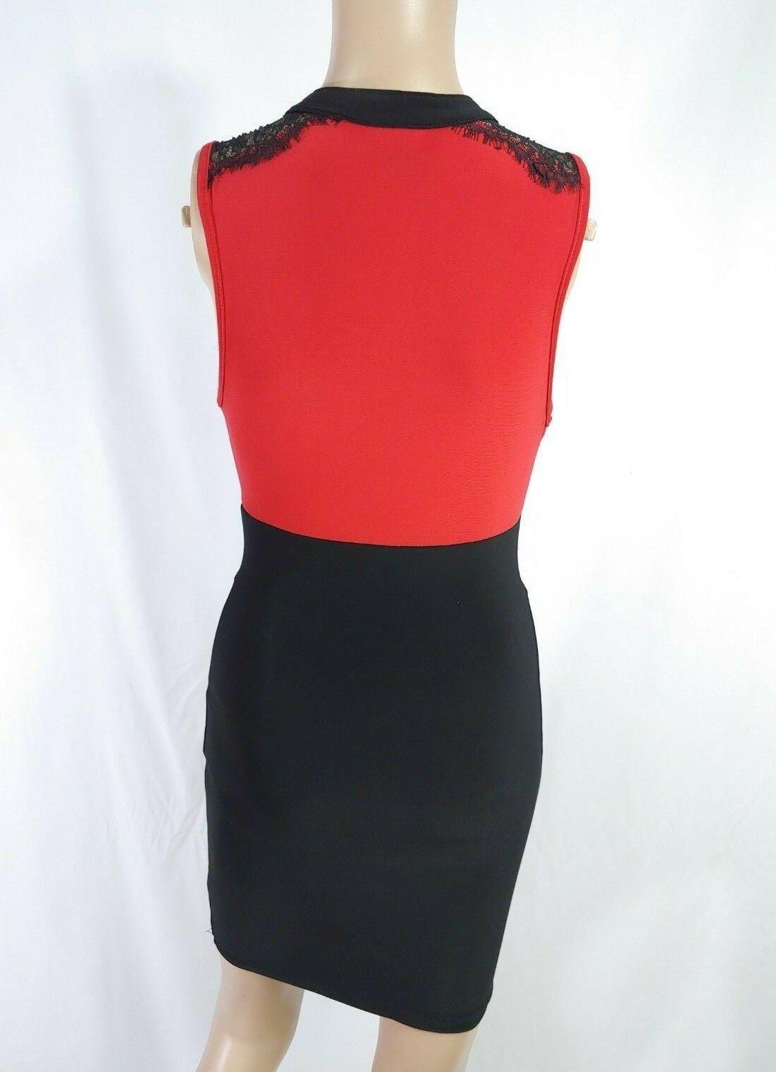 Vtg 90s Red Black Colorblock Keyhole Ascot Lace Trim Wiggle Pinup Sheath Dress S