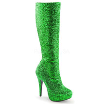 "Womens Sexy Xmas Party Green Glitter Platform 5"" Heel Costume Knee Boots - $57.55"