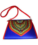 Zonnie Chanda Indian Embroidered Large Purse Blue - $33.93
