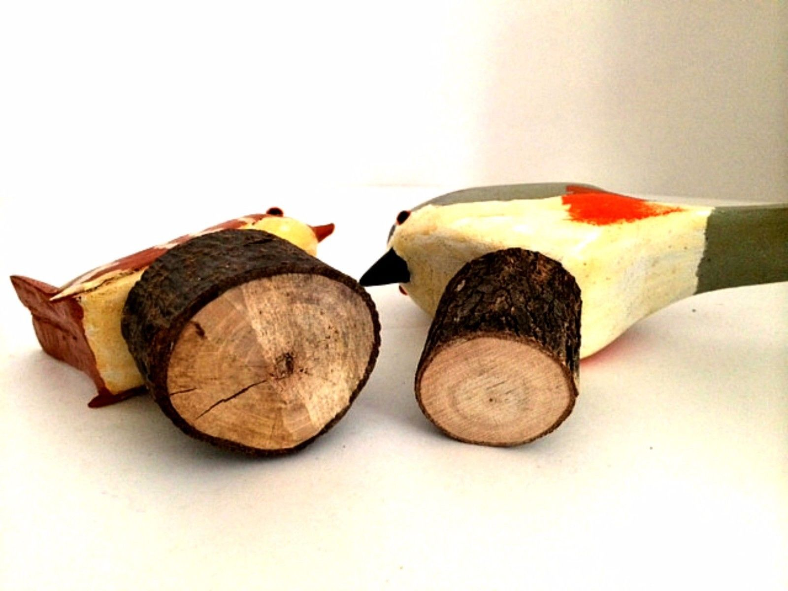 Two Hand Carved Wooden Birds on Tiny Logs Folk Art Crafts 4 inches Tall
