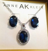 New Anne Klein Blue Rhinestone Jewel Earrings Chain Charm Set Orig $30 Nib - $15.99