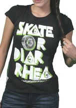 Cardboard Robot Womens Black Skate or Diarrhea Skateboarding T-Shirt NWT image 2