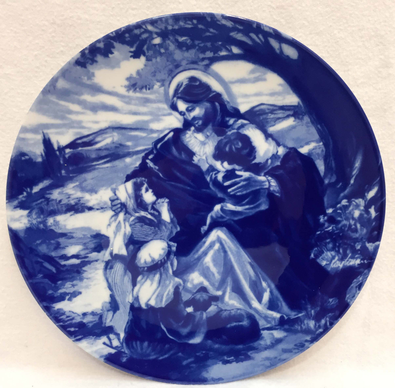 Jesus Christ Bless The Little Children Collectors Plate Avon Cobalt Blue 1992