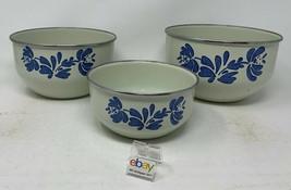 "Pfaltzgraff ""Yorktowne"" Set of 3 Tin / Metal Storage or Mixing Bowls - Nesting ! - $18.99"