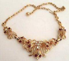Vintage Necklace Rhinestone Goldtone  - $19.99