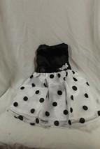 "18"" doll dress sleeveless party dress black polka dot - $6.79"
