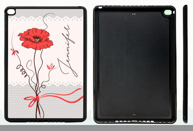 PERSONALIZED RUBBER CASE FOR iPad Air 1 2 Mini 1 2 3 4 SINGLE RED POPPY FLOWER