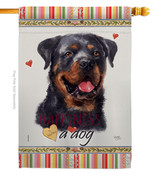 Rottweiler Happiness - Impressions Decorative House Flag H110214-BO - $40.97