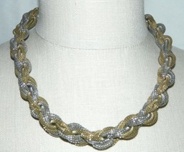 VTG VINCERO Signed Dual Tone Mesh Multi-Chain Choker Necklace - $39.60
