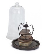 "Melrose 10.5"" Spooky Black Spider on Stack of Books Dome Halloween Cente... - $66.07"