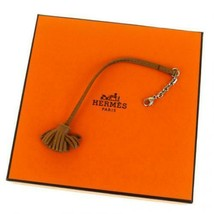 HERMES Bag Charm Key Holder Strap Fringe Brown Leather With Storage Box  - $197.01