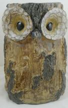 "Owl Tree Stump Jar Container Vase Resin Log Trunk 8"" - $34.64"