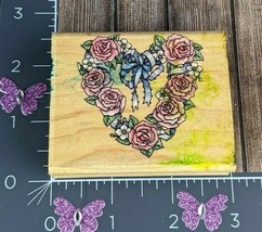 Rubber Stampede Romantic Wreathe Wood Mount A809E Floral Heart Love Roses - $3.95