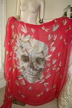 Alexander McQueen Modal pink skull dragonfly scarf shawl - $399.00