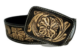 cinto belt hand tooled cincelado 100% leather brown 40 Mexico new OO - $99.95