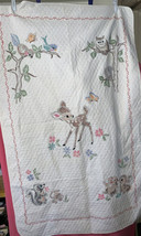 Disney Embroidered BAMBI BLANKET By Paragon Needlepoint 54 Inch X 33-1/2... - $118.18