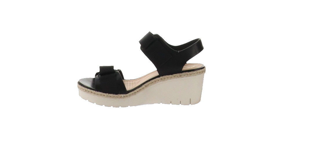 2e8471d032 Clarks Artisan Adjustable Wedge Sandals Palm Shine Black 5M NEW A306401 -  $70.27