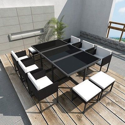 Large Garden Dine Set 6 Chairs 4 Stools Glass Top Table Patio Polyrattan Black image 2