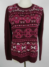 Talbots M Womens Sweater Burgundy Red LS Pink White Snowflakes Embellished - $39.59