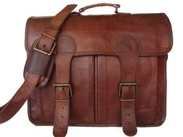 "100% Pure Leather 15"" Vintage Genuine Leather O... - $59.79"