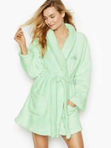 Victoria Secret Cozy Short Plush Wrap Robe Size XS/S/M/L Pink Green Ivor... - $59.00