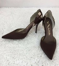 Nina Heels Shoes Stilettos Size 8 Chocolate Brown With Gold Buckle - $30.86