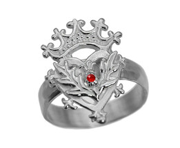 Scottish Luckenbooth Ring Sterling Silver 925 Heart Crown Ruby Thistle C... - $26.04