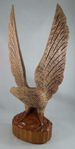Vintage tall BLACK FOREST CARVED Eagle German figure statue mid century - $148.50