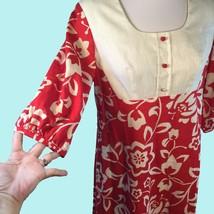 Vtg Sears Hawaiian Fashions Maxi Dress Red Cotton Hippie Granny Chic Medium - $39.11