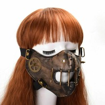 Steampunk Mask Gothic Punk Gear Rivet Half Face Halloween Cosplay Access... - £23.15 GBP