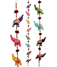 Elephant WallHanging Mobile Wind Chime Bell Lucky Charm Indian Handcraft... - $8.36
