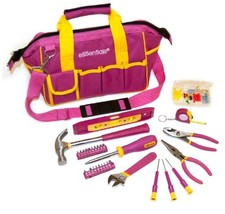 GreatNeck 21043 32-Piece Essentials Around the House Tool Set in Pink Bag - $37.43