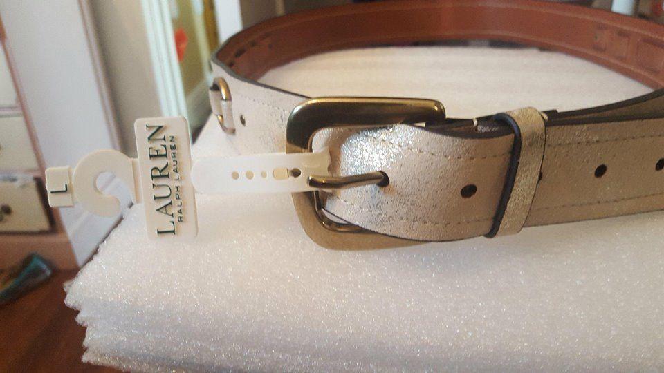 Ralph Lauren gold tone buckle leather belt, L NWT