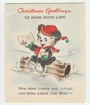 Vintage Christmas Card Bear Sits On Log 1946 Hallmark For Mother - $9.89