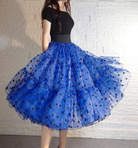 Royal Blue Polka Dot Tutu Skirt A-line Layered Puffy Midi Organza Tutu Skirt  image 3