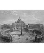 ITALY Rome St. Peter's Square & Basilica  - 1855 Antique Print Engraving - $30.60