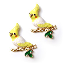 2pcs Brooch Cute Parrot Cockatoo Budgie Yellow Bird Gold Branch Pin Lovely Gift - $8.99