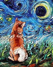 Shiba Inu Starry Night Rectangle Art Print Cute dog artwork by Aja cute colorful