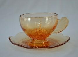 New Martinsville Radiance Amber Tea Cup & Saucer - $14.85
