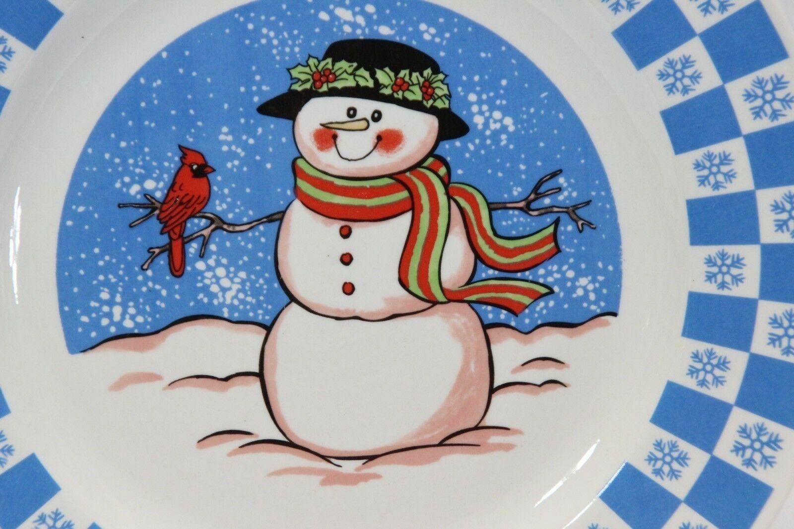 """GEI Snowman Xmas Dinner Plates 10.5"""" Set of 4 image 3"""