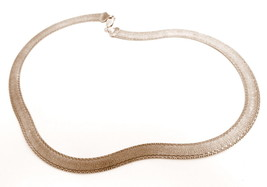Reversible Herringbone Vintage Sterling Silver Chain Necklace*25g*MILOR*... - $173.20