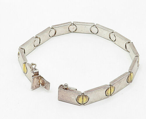 925 Sterling Silver - Vintage Two Tone Screw Detail Smooth Chain Bracelet- B4953