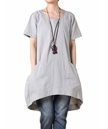 Mordenmiss Women's Cotton Linen Tunic Tops Hi-Low Dresses with Pockets X... - $29.81