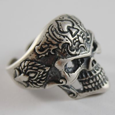 ANELLO IN ARGENTO 925 BRUNITO A FORMA DI TESCHIO CON SPLENDIDE FINITURE