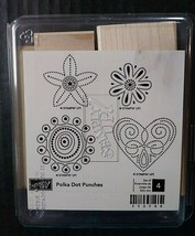 Stampin Up Rubber Stamps Polka Dot Punches Set 4 Heart Flowers Floral - $11.23